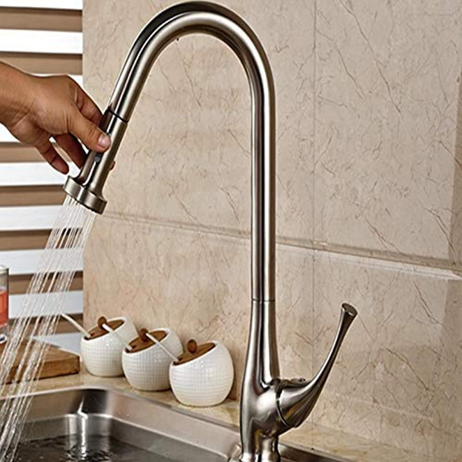Wholesale and Retail Elegant Nickel Brushed Pulling Out Kitchen Faucet Single Handle Hole Vanity Sink Mounted Mixer Deck (color   -, Size   -)