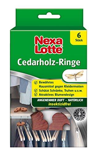 Nexa Lotte Cedarholzringe, Mottenschutz, Natürliches, bewährtes Hausmittel zum Schutz vor Kleidermotten mit angenehmen Duft, 6 Ringe