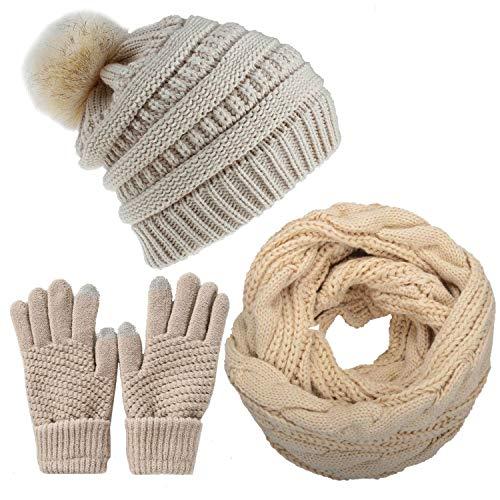CheChury Mujer Gorras Bufanda de punto Invierno Set Sombreros Pompón Suave y Cálida Cálido Ski Calentador de Cuello Moda Guantes de Pantalla Táctil para Hombre