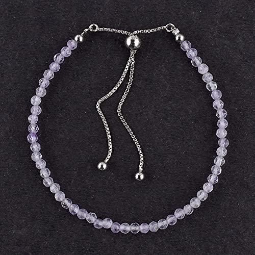 Odrilliongems Natural Lavender Quartz Gemstone Beads Bolo Bracelet, Healing Crystals, Women Jewelry in 925 Sterling Silver Adjustable Slider Bracelet, December Birthstone, Gift for Women