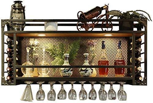 Wijnliefhebber bar- & wijnrek met wandlampen, voor het ophangen van het wijnglas van metaal / hout wijnemmer, flessenhouder