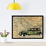 Nacnic Poster de Coche en Bulgaria. Láminas de mapas del mundo. Decoración con mapas e imágenes vintage. Tamaño A4 con marco