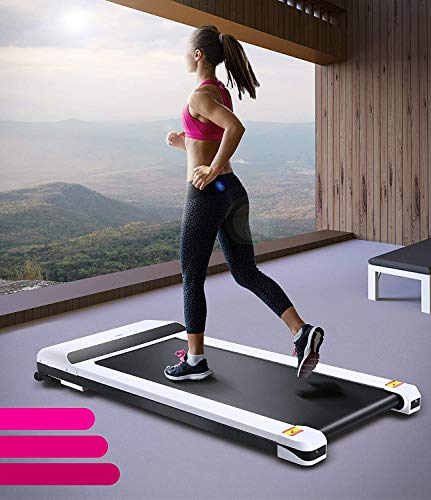 UMAY Portable Treadmill with Foldable Wheels, Under Desk Walking Pad Flat Slim Treadmill,...