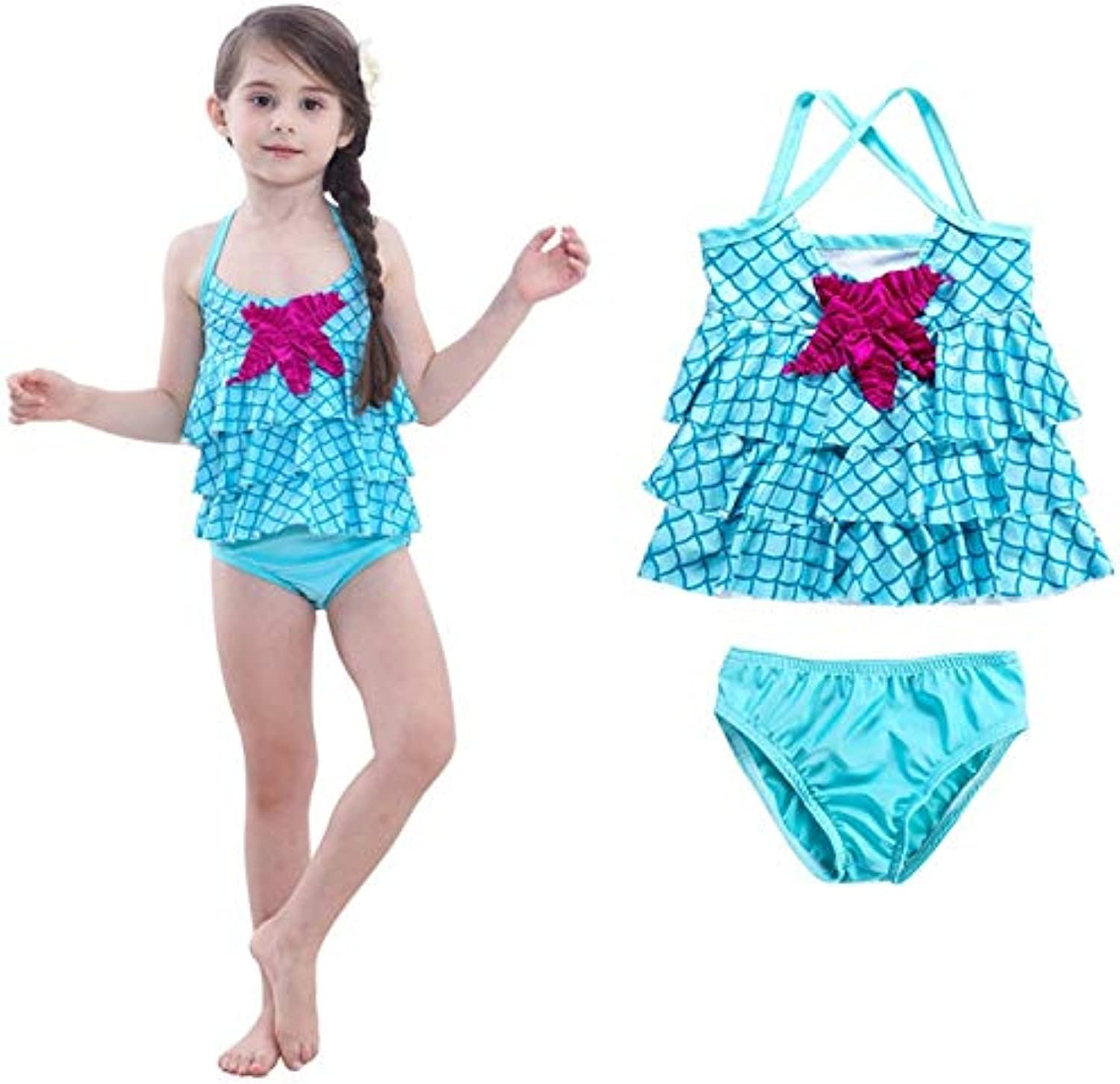 6debf21699a Anstorematealliance Watersports Swimming Clothes Baby Girl Mermaid Ruffle  Floral Beach Swimwear Bikini Set, Size 100