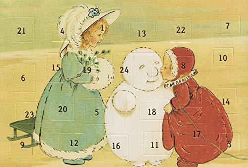 Nolstalgie Adventskalenderkarten 5 Karten Grußkarten Goldprägung Kunstkarte Weihnachtskarte Adventskalender Frohe Weihnachten Weihnachtsmann Winter