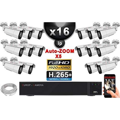 Video-bewakingsset Pro IP: 16 x camera's poe buizen autozoom X5 IR 40 m Sony 1080P + recorder NVR 32 kanalen H264 3000 GB - videobewaking