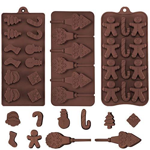 SNAGAROG 3 Stück Weihnachtlichen Schokolade Formen Handgemachte Schokoladenform Schokoladen Silikonform Backformen Weihnachten Eiswürfelformen Pralinenformen für Schokolade, Muffins, Kekse, Seifen