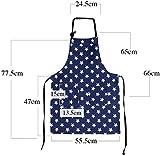 WELLXUNK Schürze,Küchenschürze Damen Schürze Kochschürze,Schürze mit Tasche für Frauen Kochen Arbeit Hausarbeit,zum Kochen oder Backen (Marine) - 2
