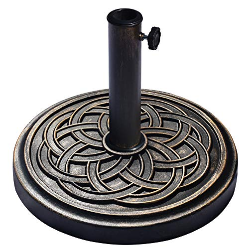 EliteShade Umbrella Base Stand Market Patio Outdoor Heavy Duty Umbrella Holder with Crossed Semicircle Pattern,Bronze