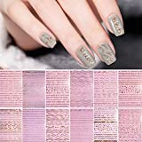 Kalolary 12 Sheets 3D Gold Silver Metallic Nail Art Stickers for Women, Exquisite Metallic Chains Line Wave Stars Geometry Nail Stickers Adhesive Striping Tape Nail Stickers for Fingernails Manicure