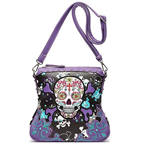Sugar Skull Day of the Dead Cross Bone Concealed Carry Purse Women Cross Body Handbag Shoulder Bag (Purple Crossbody Only)