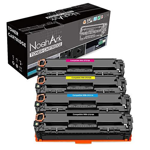 NoahArk Compatible HP 131A 131X CF210A Cartucho de tóner Reemplazo para HP CF210X CF211A CF212A CF213A Trabajar para HP Laserjet Pro 200 Color M251n M251nw, MFP M276n M276nw, 4-Paquete (BK/C/Y/M)