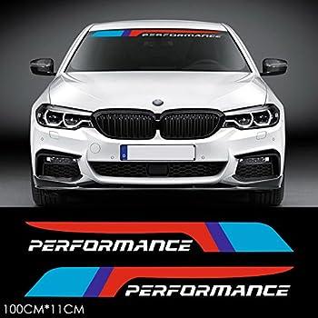 2pcs M Performance 2018 Front Rear Windshield Window Banner Vinyl Decal Stickers for BMW F10 F30 E90 E60 E39 E36 E30 X1 X3 X5 X6 Z4 M3 M4 M5  White