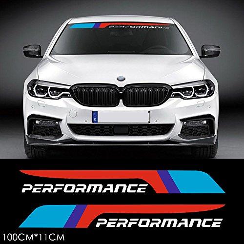 Charminghorse 2 Stück M Performance 2018 Frontscheiben-Banner Fenster-Aufkleber für BMW F30 F20 F10 X1 X3 X5 X6 Z4 E60 E90 E36 E39 F15 F16 G30 G20 G11 G12 F07 M3 M4 M5 Zubehör Weiß BMP003