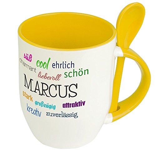 Löffeltasse mit Namen Marcus - Positive Eigenschaften von Marcus - Namenstasse, Kaffeebecher, Mug, Becher, Kaffeetasse - Farbe Gelb