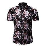 Camisas Hawaianas de los Hombres Camisa de Mierda de los Hombres Camisa de la Flor de la Rebeca de Manga Corta Casual de la Moda M-3XL
