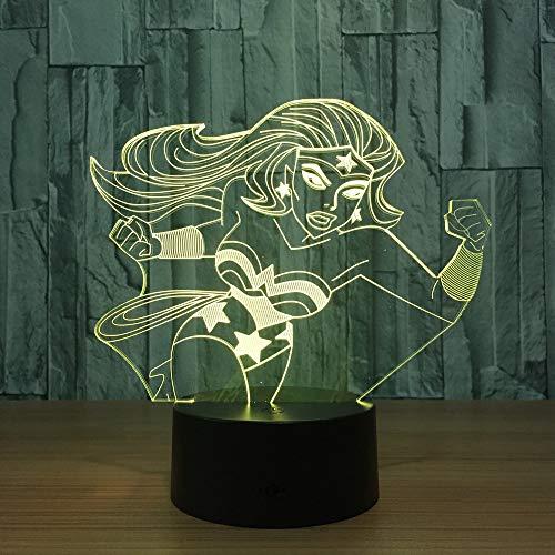 Anime Held meisjes nachtlampje voor kinderen 3D illusie lamp 7 kleuren wijzigen met afstandsbediening sfeerlicht, vakantie en verjaardagscadeau voor jongens meisjes