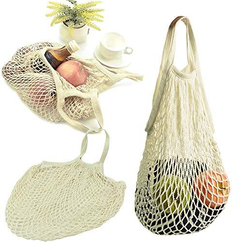 Aufbewahrungstasche für Obst, lang, tragbar, modisch, Baumwolle, umweltfreundlich, wiederverwendbar, Netz-Handtasche, geeignet für Shopping, Lebensmittel, Supermarkt, Obstverpackung und mehr