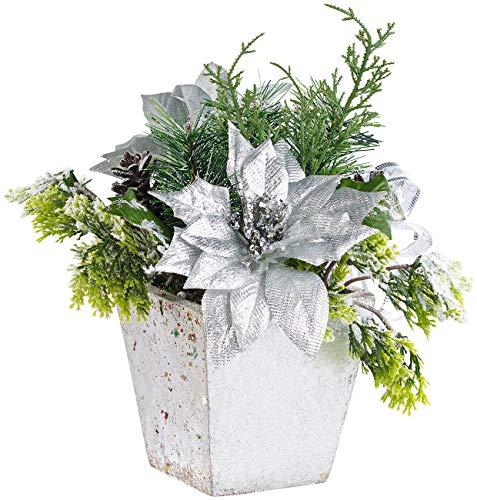 infactory Kunstblumen: Weihnachts-Gesteck mit Blumen, Zweigen, Zapfen und Kunst-Schnee, 22 cm (Kunstblumen Weihnachten)