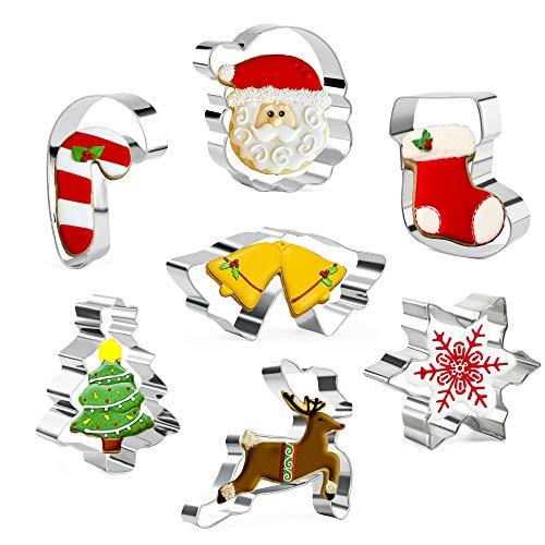 Olywee Ausstechformen-Set für Weihnachten, 7-teilig, Edelstahl, Weihnachtsbaum, Weihnachtsmann, Schneeflocke, Rentier, Zuckerstange, Socke, Doppelglocken