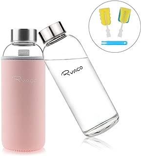Ryaco Botella de Agua Cristal 450ml, Botella de Agua