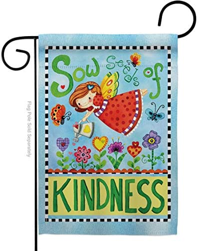 Floral Sow Seeds of Kindness Garden Flag Spring Sunflower Tulip Rose Orchid Lilies Season Springtime product image
