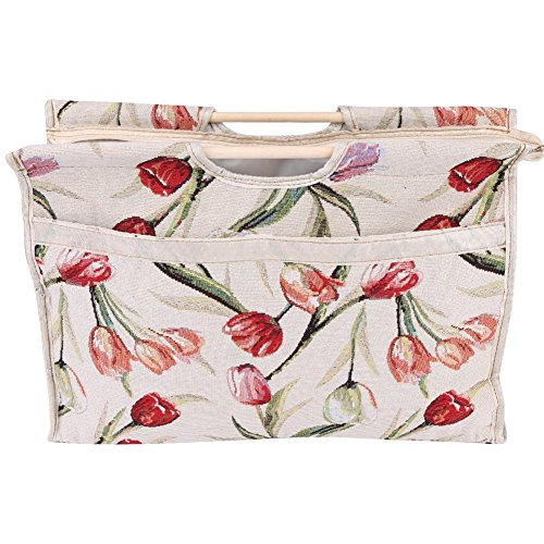 %9 OFF! Akozon Storage Bag 1pc Exquisite Practical Wood Handle Woven Fabric Storage Bag for Knitting Needles Sewing Tools(Red Flower)