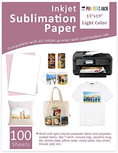 Sublimation Paper 13 x 19 inches 100 Sheets, Compatible with Epson & Sawgrass Inkjet Printer with Sublimation Ink Heat Transfer Paper Sublimation for T-shirts Mugs Light Fabric