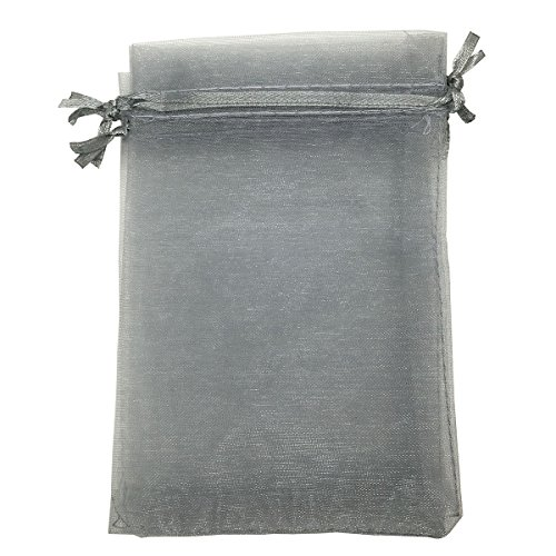 Sosam 100PCS 5x7 Inches Organza Drawstring Pouches Jewelry Party Wedding Favor Gift Bags (5x7, Gray)