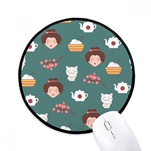 Kat Sakura Rijst Theepot Japan Ronde Antislip Mousepads Zwart Titched Edges Game Kantoor Gift