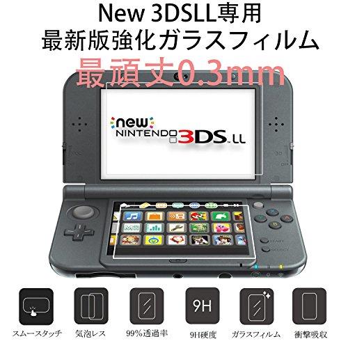SNNC-JP NEW 3DSLL用 液晶保護フィルム ガラスフィルム 9H高硬度 極薄 防塵 傷防止