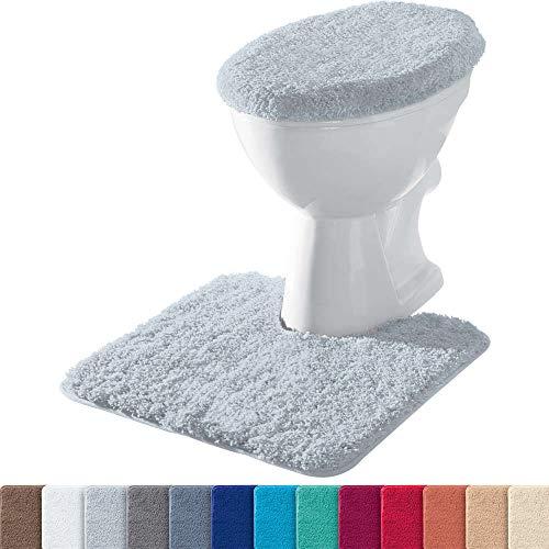 Erwin Müller Stand-WC-Set 2-TLG. Uni, WC-Umrandung, WC-Deckelbezug rutschhemmend Silber - ultraweich, extrem saugfähig, flusenarm (weitere Farben)