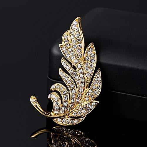 YJTT Moda Pluma del Pavo Real cristalino de la Perla de Corea del Collar Traje alfileres y broches for Las Mujeres de los Hombres de Solapa broches Broche joyería (Metal Color : S2)