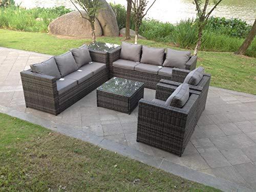 Fimous 8 Seater Grey Rattan Sofa Set Coffee Table Single Chair Outdoor Garden Furniture