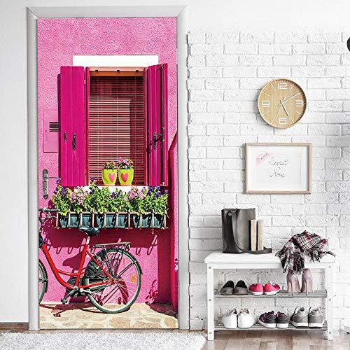 JIANXIQT deurstickers voor binnendeuren, citaat muursticker roze huis dorpel plant Potted 3D deur Sticker Pvc waterdichte Scandinavische kunst stickers voor klas woonkamer slaapkamer huisdecoratie 90x200cm