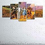Pegatinas De Pared 5 Unidades Lienzo Pintura Lienzo Cuadro Pintura Habitación Decoración Impresión Cartel Arte De La Pared 150X80Cm El Mago De Oz Set De Lienzo De 5 Piezas