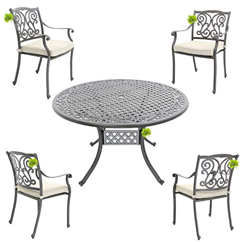 Hanseatisches Im- & Export Contor GmbH Made for us® Aluguss Gartenmöbel-Set, Gartenmöbelgarnitur bestehend aus Gartentisch mit Gartenstühlen (Runder Tisch Ø 120 cm + 4 Stühle)