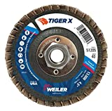 Weiler 51205 Tiger x Flap Disc, 4 1/2 in Angled, 40 Grit, 5/8 in - 11 Arbor, Dark Gray, Type 29 5/8'-11 Hub, Made in The USA (Pack of 10)