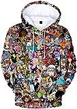 PANOZON Sudadera Hombre One Piece Impresión 3D de Luffy Camiseta con Capucha para Fanes de Rey de los Piratas (M, Colección 17-1)