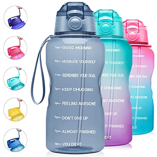 Giotto Large 1 Gallon/128oz Motivational Water Bottle with Time Marker & Straw,Leakproof Tritan BPA Free Water Jug,Ensure You Drink Enough Water Daily for Fitness,Gym and Outdoor Activity-Gray