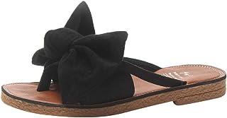 Hosamtel Flip Flops for Women Fashion Round Toe Solid Color Bow tie Flat Heel Sandals Slipper Beach Shoes