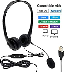HIGH QUALITY AUDIO: Easy to install USB headset microphone gives you clear sound for video calls, remote work, online education, web conferencing, gaming and more UNIVERSAL COMPATIBILITY: USB Type-A audio connection offers seamless compatibility with...