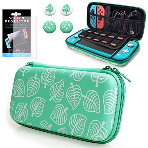 Carrying Case for Nintendo Switch Lite,Travel Carry Cover Hard Shell Storage with Screen Protector and 4 Leaf Thumb Grip,for Leaf Crossing NS Console&Joy-con & Cable and More Accessories