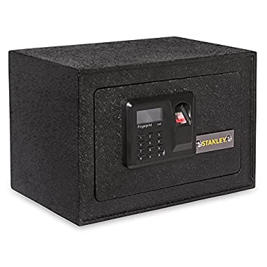 Stanley Solid Steel Biometric Personal Home Safe with Fast Access Fingerprint Recognition for Wall, Floor or Closet – Secures Jewelry, Gun, Pistol, Firearms, Money, Valuable, Collectibles & More