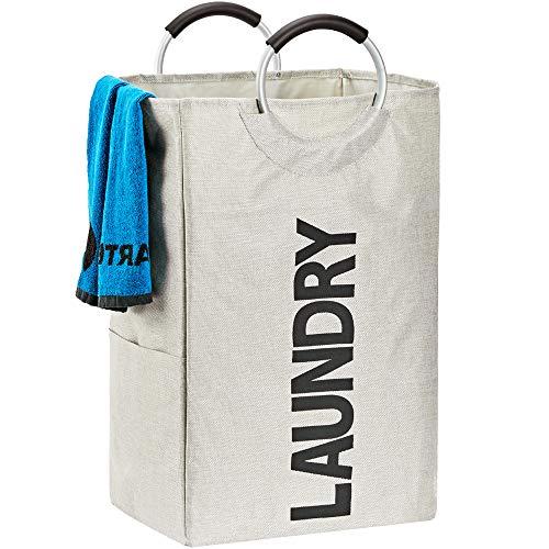 Double Laundry Hamper with Pocket - 4 Colors