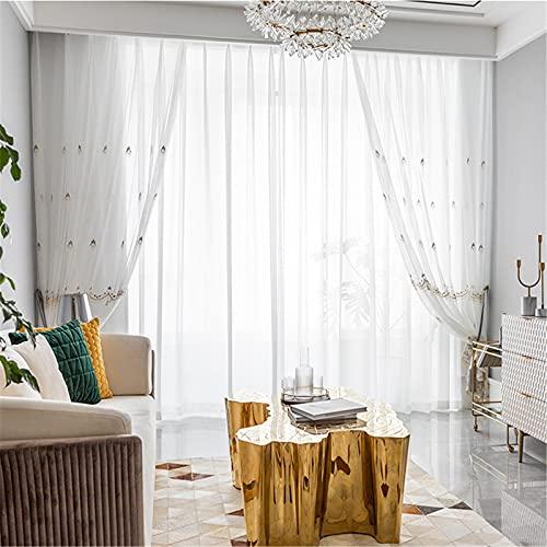 FACWAWF Pantallas Bordadas De Estilo Europeo para Sala De Estar, Dormitorio, Sala De Estudio, Pantallas Blancas Verticales, Cortinas Translúcidas 2x118x106in(300x270cm) WxH