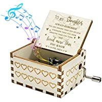 You are My Sunshine Music Box Gift for Daughter from Dad, Hand Crank Wooden Vintage