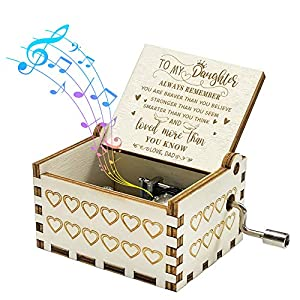 💕 【PERFECT GIFT】Our you are my music box present is made of high-quality wood and high precision music module as a thoughtful gift to daughter,exquisite handmade artwork. 💕 【NOVEL DESIGN】Pretty medieval surface carved around the music box gift,engrav...