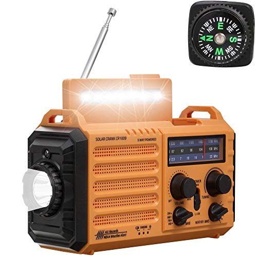 NOAA Weather Radio,Rechargeable 5000mAh Solar/Hand Crank/Battery Operated Radio,Shortwave AM FM Radio Portable,USB Cellphone Charger,LED Flashlight,Reading Lamp,SOS Alert,Emergency Survival Gear Kits