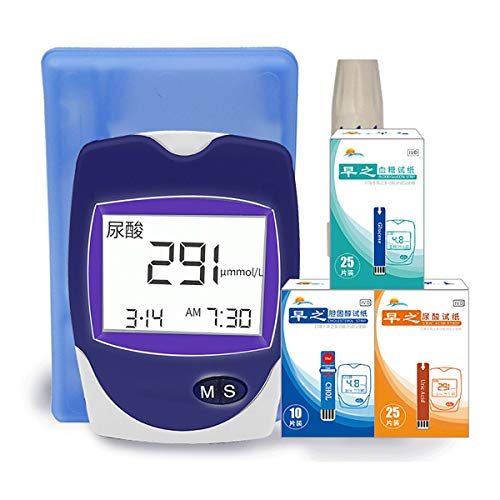 Diabetes Testing Kit, 3-In-1home Blood Glucose Uric Acid and Cholesterol Tester with 10 Cholesterol Test Strip + 25 Uric Acid Test Strip + 25 Blood Glucose Test Strip